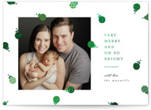 This is a green foil stamped holiday card by Ally Madison called Ornament Confetti with foil-pressed printing on smooth signature in standard.