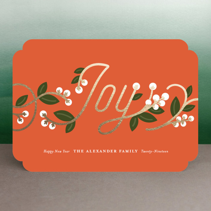 """Joy Berries"" - Vintage Foil-pressed Holiday Cards in Crimson by Genna Cowsert."