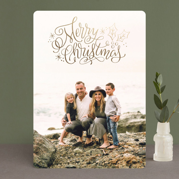 """""""Merry Scripty Christmas"""" - Foil-pressed Holiday Cards in Ebony by Makewells."""