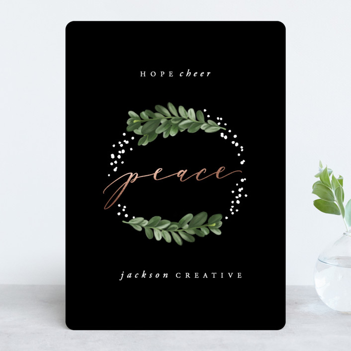 """""""Boxwood Wreath"""" - Foil-pressed Holiday Cards in Midnight by Hooray Creative."""