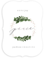 This is a white foil stamped holiday card by Hooray Creative called Boxwood Wreath with foil-pressed printing on signature in standard.