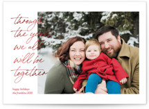 This is a red foil stamped holiday card by Ashley DeMeyere called Through the Years with foil-pressed printing on smooth signature in standard.
