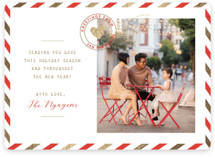 This is a red foil stamped holiday card by The Social Type called Holiday Air Mail with foil-pressed printing on smooth signature in standard.
