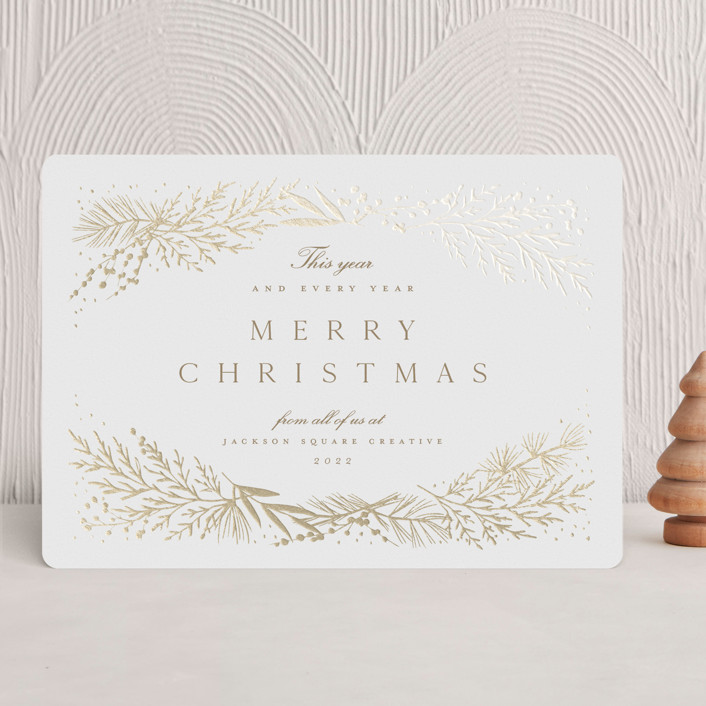 """""""Spread Cedars"""" - Foil-pressed Holiday Cards in Snow by Amy Kross."""