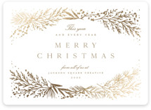 This is a white foil stamped holiday card by Amy Kross called Spread Cedars with foil-pressed printing on signature in standard.