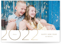 This is a brown foil stamped holiday card by Jennifer Postorino called Horizon Line with foil-pressed printing on smooth signature in standard.