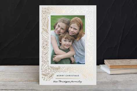 Fir Frame Foil-Pressed Holiday Cards