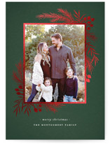 This is a green foil stamped holiday card by Wildfield Paper Co. called Gilded Botanical Frame with foil-pressed printing on smooth signature in standard.