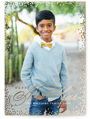 Glimmery Foil-Pressed Holiday Cards