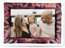 This is a purple foil stamped holiday card by Alethea and Ruth called Watercolor Wash Pine Frame with foil-pressed printing on smooth signature in standard.