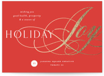 This is a red foil stamped holiday card by Melanie Kosuge called Joy Flourish with foil-pressed printing on signature in standard.
