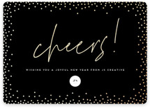 This is a black foil stamped holiday card by Ink and Letter called New Year Cheers with foil-pressed printing on signature in standard.