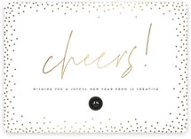 This is a white foil stamped holiday card by Ink and Letter called New Year Cheers with foil-pressed printing on signature in standard.