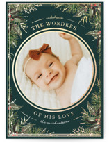 This is a green foil stamped holiday card by Chris Griffith called Christmas Wonders of Love with foil-pressed printing on smooth signature in standard.
