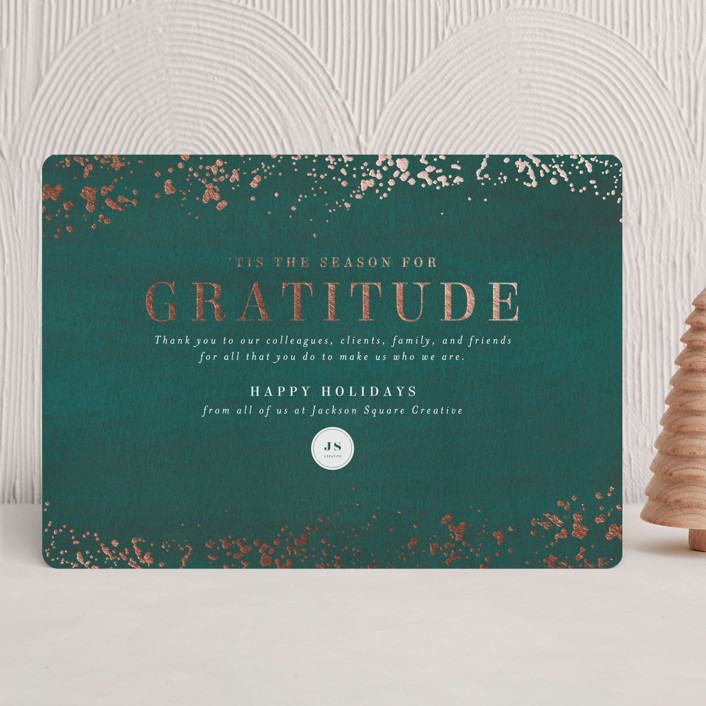 """""""Season of Gratitude"""" - Foil-pressed Holiday Cards in Emerald by Meggy Masters."""