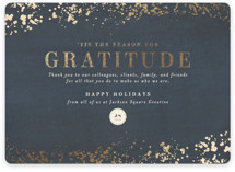 This is a blue foil stamped holiday card by Meggy Masters called Season of Gratitude with foil-pressed printing on signature in standard.