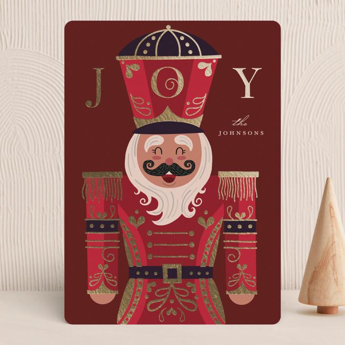 """Joyful Nutcracker"" - Vintage Foil-pressed Holiday Cards in Santa Suit by Katie Zimpel."