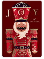 This is a red foil stamped holiday card by Katie Zimpel called Joyful Nutcracker with foil-pressed printing on signature in standard.