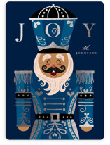 This is a blue foil stamped holiday card by Katie Zimpel called Joyful Nutcracker with foil-pressed printing on signature in standard.