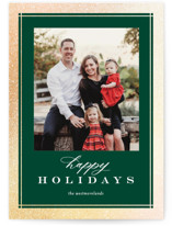 This is a green foil stamped holiday card by Jessica Williams called Sofisticato with foil-pressed printing on smooth signature in standard.