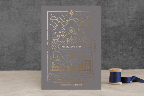 Merry Line Art Foil-Pressed Holiday Cards