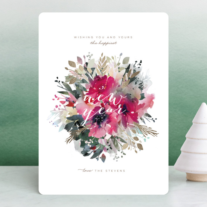 """""""Festive Bouquet"""" - Bohemian Foil-pressed Holiday Cards in Winter by Lori Wemple."""