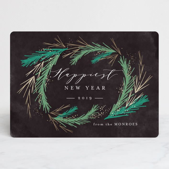 """""""Festive Winter Greens"""" - Foil-pressed Holiday Cards in Night Sky by Kristie Kern."""