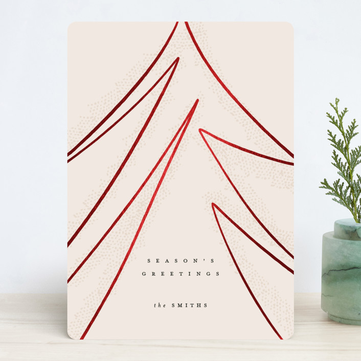 """""""Modern Tree"""" - Modern Foil-pressed Holiday Cards in Blush by Carrie ONeal."""