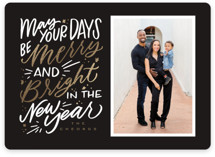 This is a black foil stamped holiday card by Leah Bisch called Merrier Days with foil-pressed printing on smooth signature in standard.