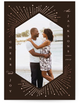 This is a brown foil stamped holiday card by Katie Zimpel called Merry Sparks with foil-pressed printing on smooth signature in standard.