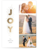 This is a grey foil stamped holiday card by Stacey Meacham called Joy stacked with foil-pressed printing on smooth signature in standard.