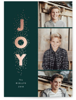 This is a green foil stamped holiday card by Stacey Meacham called Joy stacked with foil-pressed printing on smooth signature in standard.
