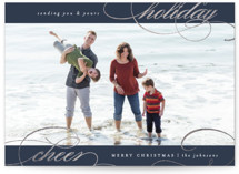 This is a blue foil stamped holiday card by Carolyn Nicks called swirled holiday cheer with foil-pressed printing on smooth signature in standard.