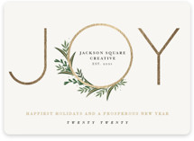 This is a yellow foil stamped holiday card by Oma N. Ramkhelawan called Modern Gilded Joy with foil-pressed printing on signature in standard.