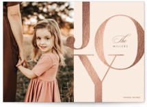 This is a pink foil stamped holiday card by Jennifer Postorino called Beautiful Bold Joy with foil-pressed printing on smooth signature in standard.