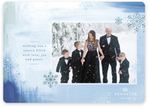 This is a blue foil stamped holiday card by Mansi Verma called Winter Snow with foil-pressed printing on smooth signature in standard.