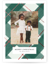 This is a green foil stamped holiday card by Itsy Belle Studio called Gilden Plaid with foil-pressed printing on smooth signature in standard.