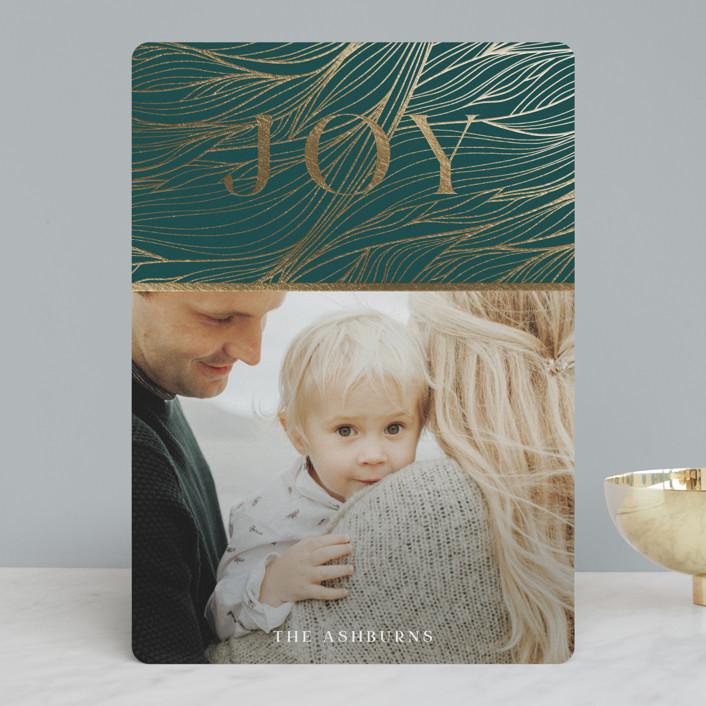 """Joyful swirls"" - Modern Foil-pressed Holiday Cards in Forest Green by GeekInk Design."
