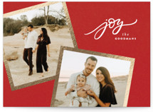 This is a red foil stamped holiday card by Wildfield Paper Co. called Golden Snapshots with foil-pressed printing on smooth signature in standard.