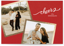 This is a red foil stamped holiday card by Wildfield Paper Co called Golden Snapshots with foil-pressed printing on smooth signature in standard.