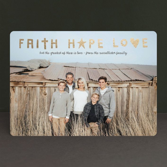 """faith + hope + love"" - Foil-pressed Holiday Cards in Graphite by Olivia Goree."