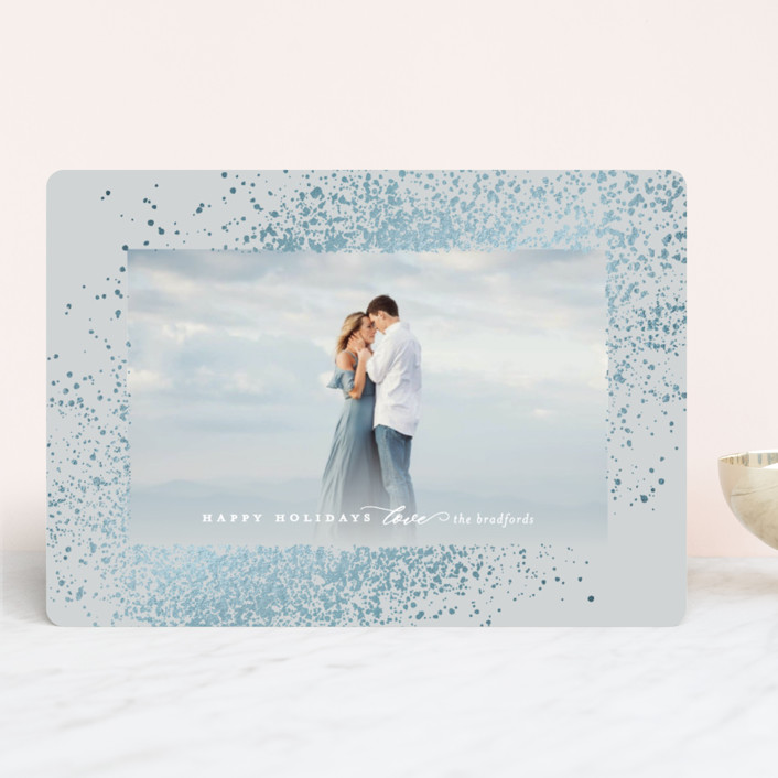 """""""Glowing Snow"""" - Bohemian, Modern Foil-pressed Holiday Cards in Sky by Simona Camp."""