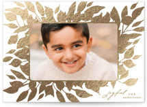 This is a brown foil stamped holiday card by Phrosne Ras called Leafy Frame with foil-pressed printing on smooth signature in standard.