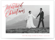 This is a red foil stamped holiday card by Hooray Creative called Elegantly Wedded with foil-pressed printing on smooth signature in standard.