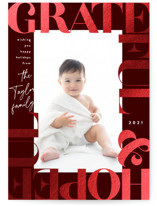 This is a red foil stamped holiday card by Alethea and Ruth called Grateful & Hopeful Bold with foil-pressed printing on smooth signature in standard.