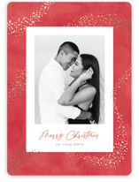 This is a red foil stamped holiday card by Hooray Creative called Trailing Stardust with foil-pressed printing on smooth signature in standard.