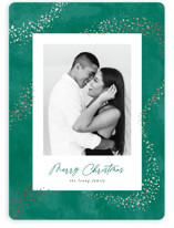 This is a green foil stamped holiday card by Hooray Creative called Trailing Stardust with foil-pressed printing on smooth signature in standard.