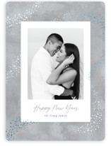 This is a grey foil stamped holiday card by Hooray Creative called Trailing Stardust with foil-pressed printing on smooth signature in standard.