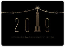 This is a black foil stamped holiday card by fatfatin called New year in new york city with foil-pressed printing on signature in standard.