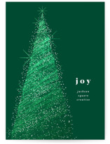 This is a green foil stamped holiday card by Kristie Kern called Shimmer with foil-pressed printing on signature in standard.